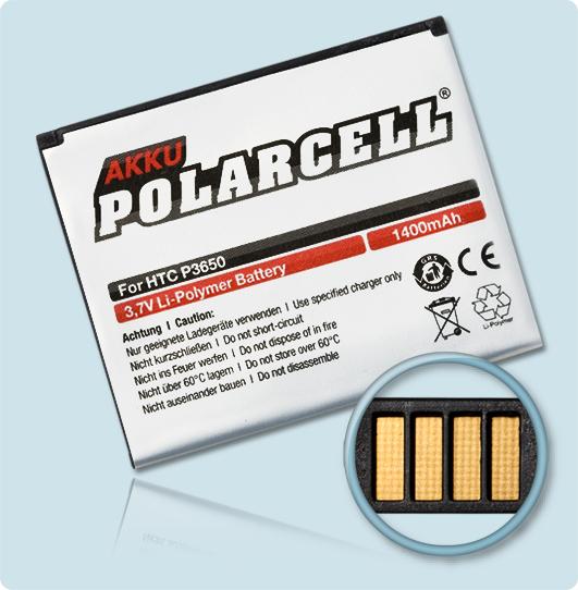 PolarCell® Hochleistungsakku für HTC P3650, ersetzt Originalakku POLA160