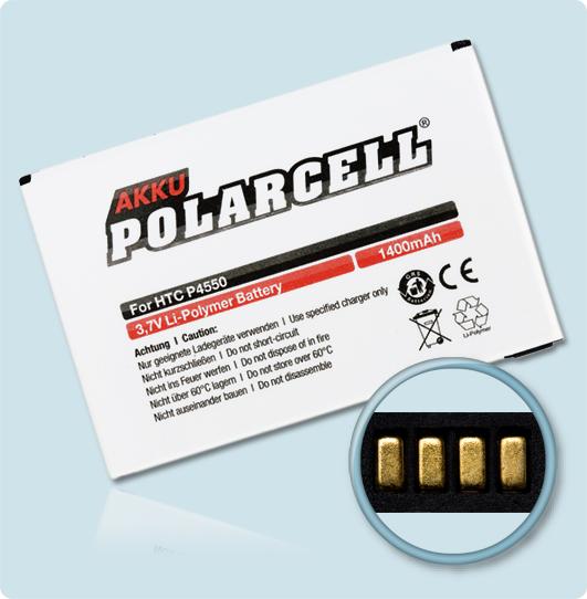 PolarCell® Hochleistungsakku für HTC P4550, ersetzt Originalakku KAIS160