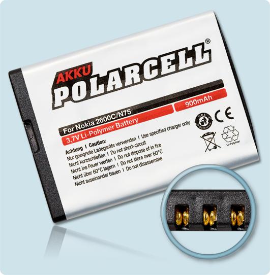 PolarCell® Hochleistungsakku für Nokia 7510, ersetzt Originalakku BL-5BT