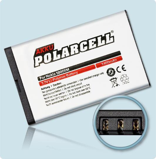 PolarCell® Hochleistungsakku für Nokia C3-00, ersetzt Originalakku BL-5J