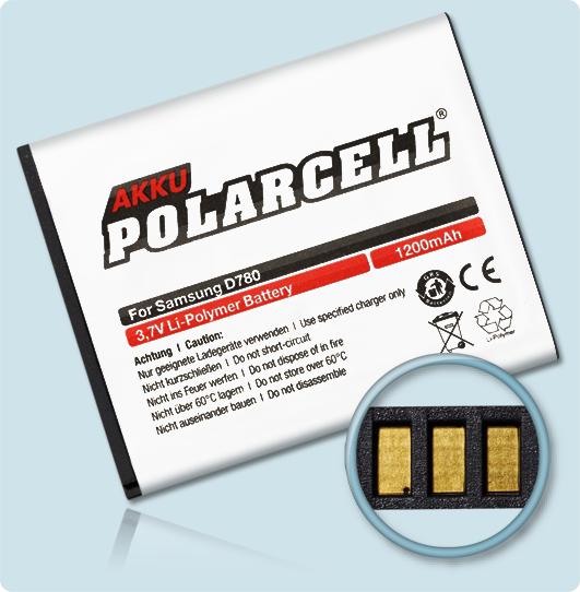 PolarCell® Hochleistungsakku für Samsung SGH-D780, ersetzt Originalakku AB474350BE - BU