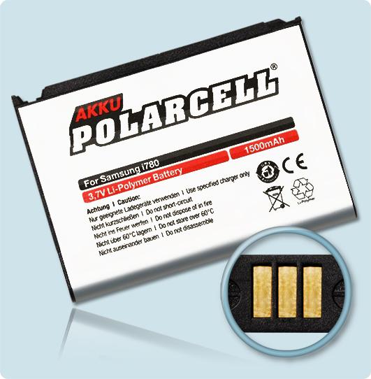 PolarCell® Hochleistungsakku für Samsung SGH-i780, ersetzt Originalakku AB823450CE