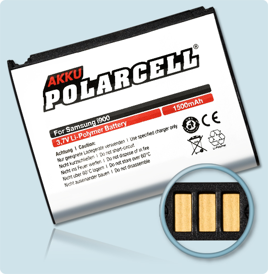 PolarCell® Hochleistungsakku für Samsung Galaxy Omnia i900, ersetzt Originalakku  AB653850CU - CE