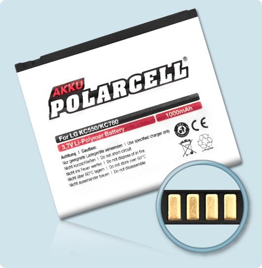 PolarCell® Hochleistungsakku für LG Reina KC780, ersetzt Originalakku LGIP-570A