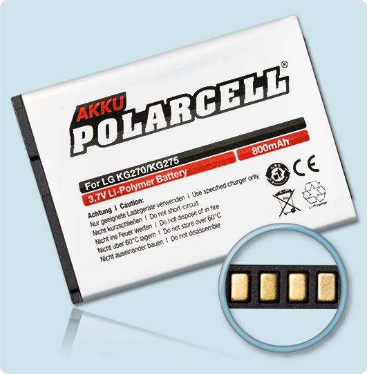PolarCell® Hochleistungsakku für LG Shine 2 KF510, ersetzt Originalakku LGIP-410A