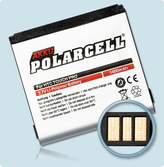 PolarCell® Hochleistungsakku für HTC Touch Pro, ersetzt Originalakku DIAM171