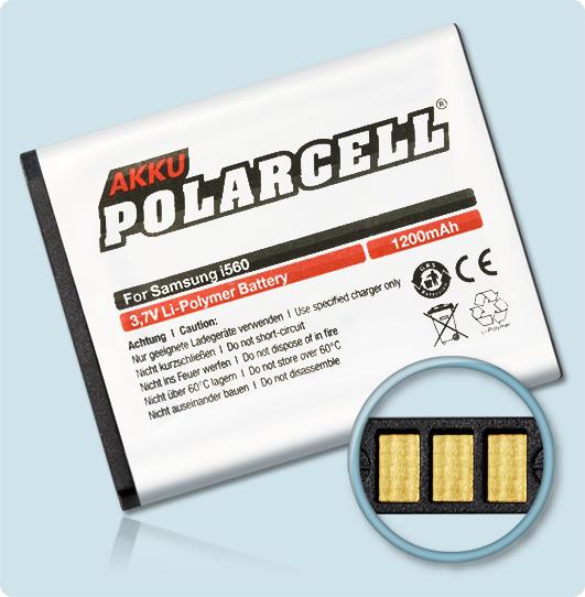 PolarCell® Hochleistungsakku für Samsung SGH-i560, ersetzt Originalakku AB474350DE - DU