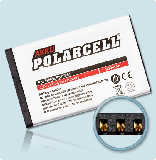 PolarCell® Hochleistungsakku für Nokia 7310 Supernova, ersetzt Originalakku BL-4CT