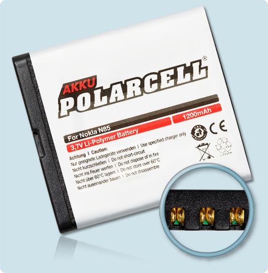 PolarCell® Hochleistungsakku für Nokia N85, ersetzt Originalakku BL-5K