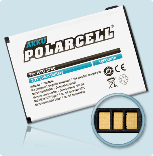 PolarCell® Hochleistungsakku für HTC Rose, ersetzt Originalakku ROSE160