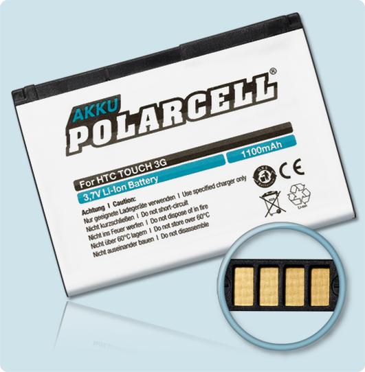 PolarCell® Hochleistungsakku für HTC T3232, ersetzt Originalakku JADE160