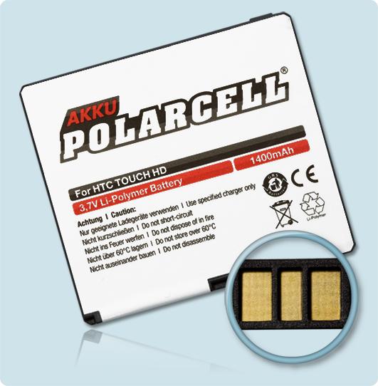 PolarCell® Hochleistungsakku für HTC T8282, ersetzt Originalakku BLAC160