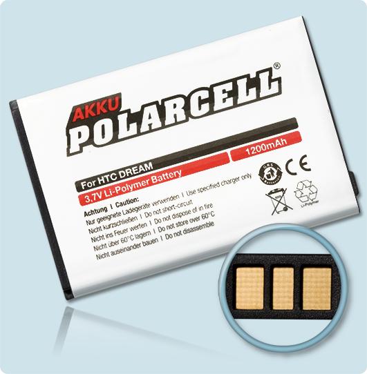 PolarCell® Hochleistungsakku für HTC Dream ersetzt Originalakku DREA 160