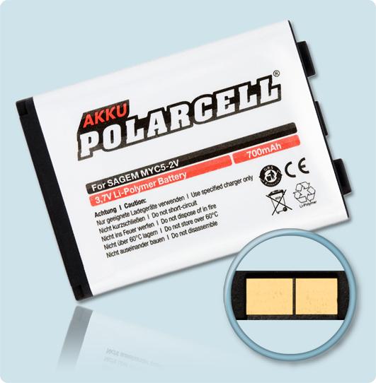 PolarCell Hochleistungs-Akku für Sagem myC5-2v / myC5-2m / myC5-3 / VS3 / VS5