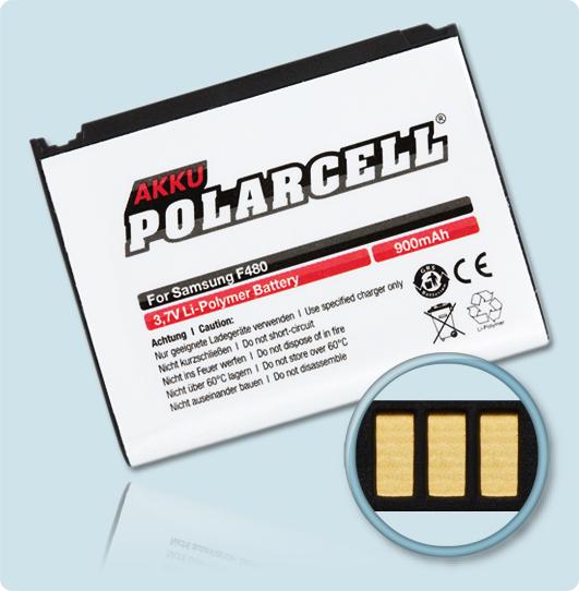 PolarCell® Hochleistungsakku für Samsung SGH-F480, ersetzt Originalakku AB553446CE