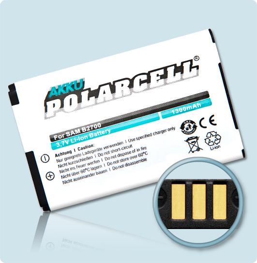 PolarCell® Hochleistungsakku für Samsung SGH-B2700, ersetzt Originalakku AB663450BE