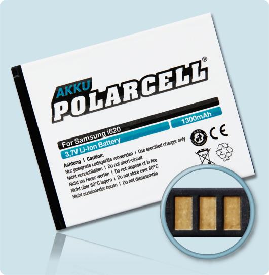 PolarCell® Hochleistungsakku für Samsung SGH-i640, ersetzt Originalakku AB414757BE