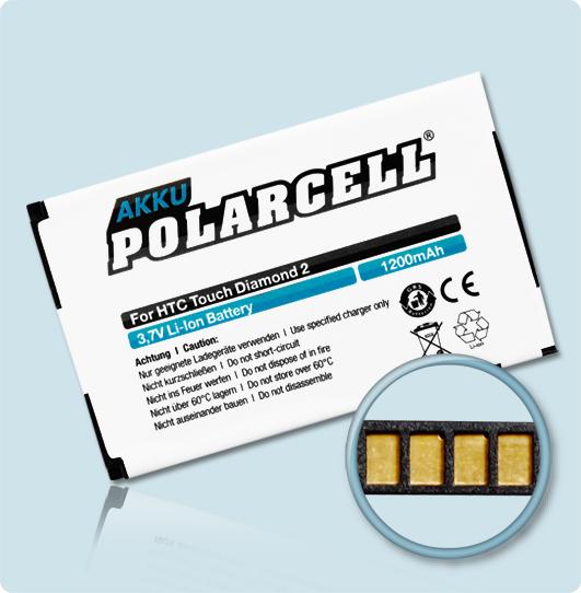 PolarCell® Hochleistungsakku für HTC T5353, ersetzt Originalakku TOPA160