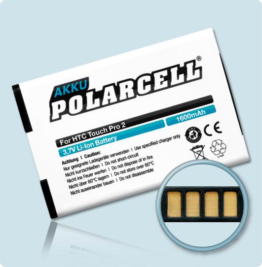 PolarCell® Hochleistungsakku für HTC T7373, ersetzt Originalakku RHOD160