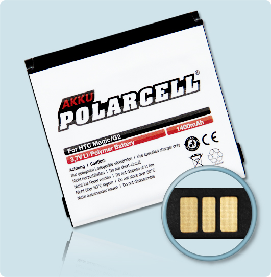 PolarCell® Hochleistungsakku für Vodafone Google G2, ersetzt Originalakku SAPP160