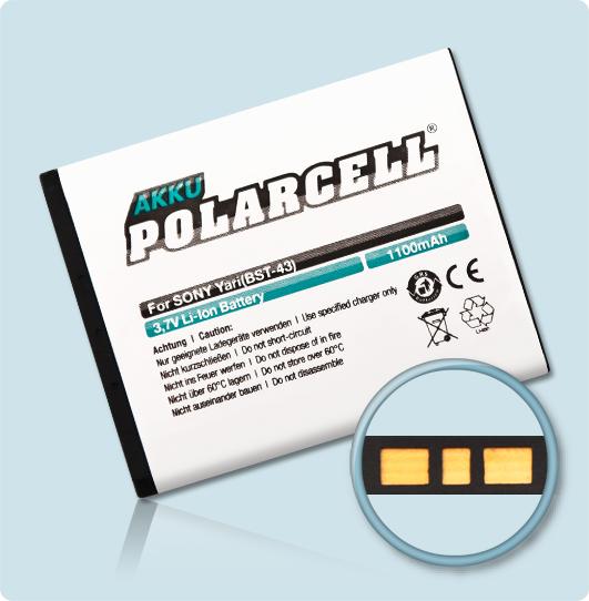 PolarCell® Hochleistungsakku für Sony-Ericsson Elm, ersetzt Originalakku BST-43