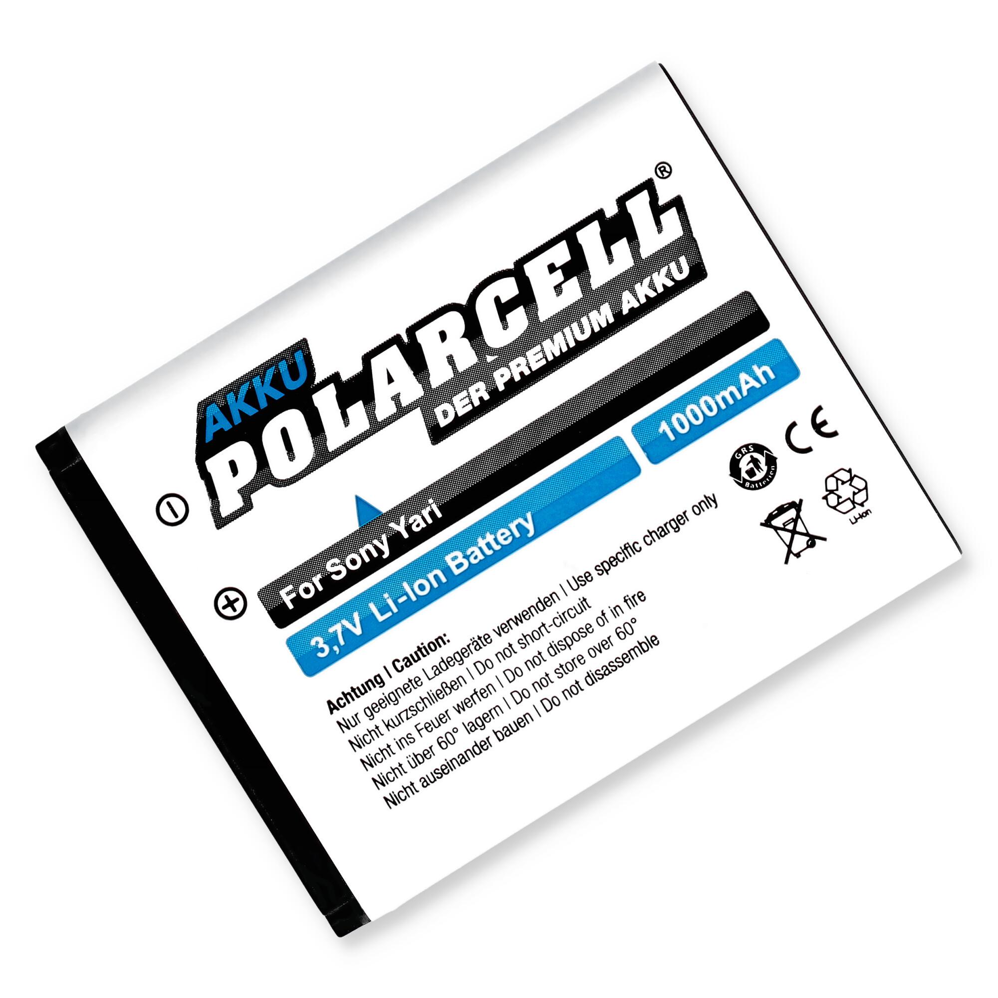 PolarCell® Hochleistungsakku für Sony-Ericsson Yari, ersetzt Originalakku BST-43