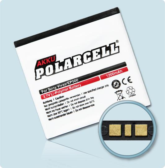 PolarCell® Hochleistungsakku für Sony-Ericsson Vivaz, ersetzt Originalakku EP500