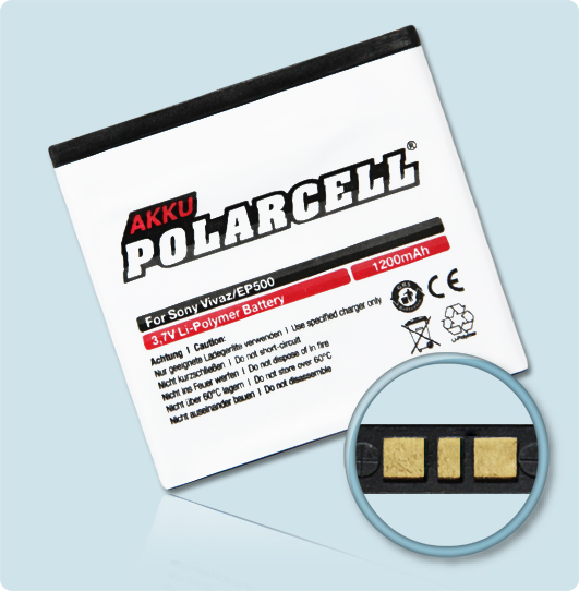 PolarCell® Hochleistungsakku für Sony-Ericsson Xperia mini pro, ersetzt Originalakku EP500