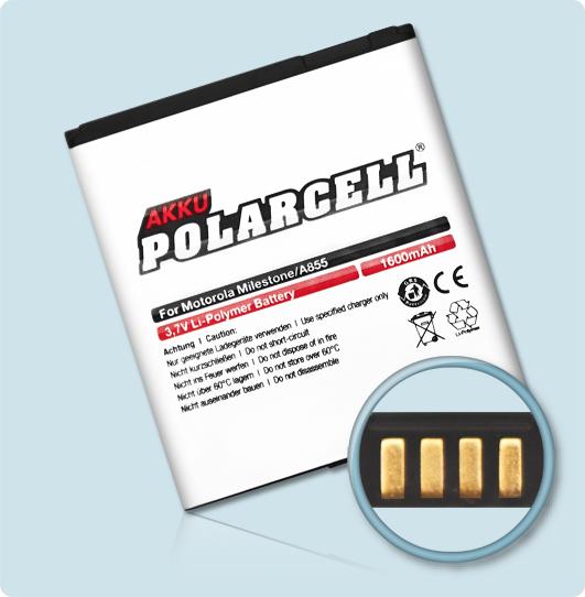 PolarCell® Hochleistungsakku für Motorola DEXT MB200, ersetzt Originalakku BP6X