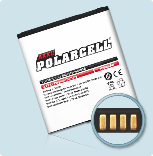 PolarCell® Hochleistungsakku für Motorola Motoluxe, ersetzt Originalakku BP6X