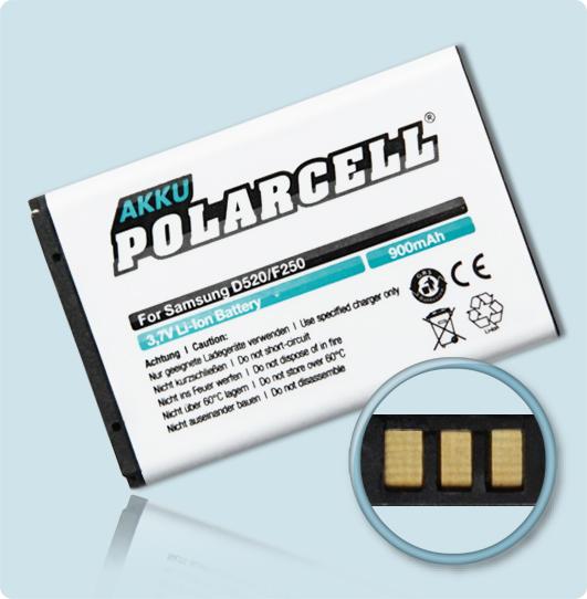 PolarCell® Hochleistungsakku für Samsung E2530, ersetzt Originalakku BST3108BE