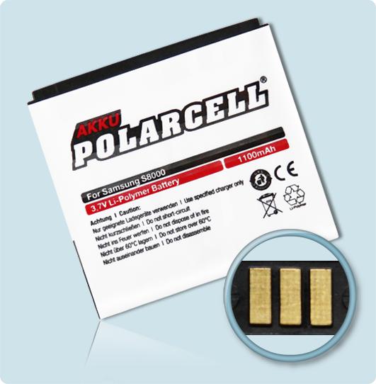 PolarCell® Hochleistungsakku für Samsung S8000 Jét, ersetzt Originalakku EB664239HU