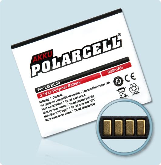 PolarCell® Hochleistungsakku für LG New Chocolate GD550, ersetzt Originalakku LGIP-570N