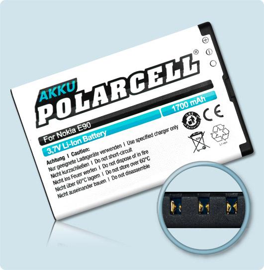 PolarCell® Hochleistungsakku für Nokia E61i, ersetzt Originalakku  BP-4L - BP-4C