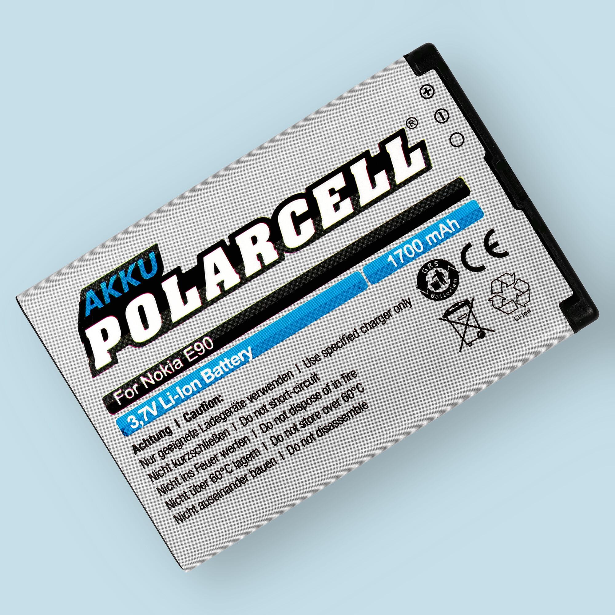 PolarCell® Hochleistungsakku für Nokia E90, ersetzt Originalakku  BP-4L - BP-4C