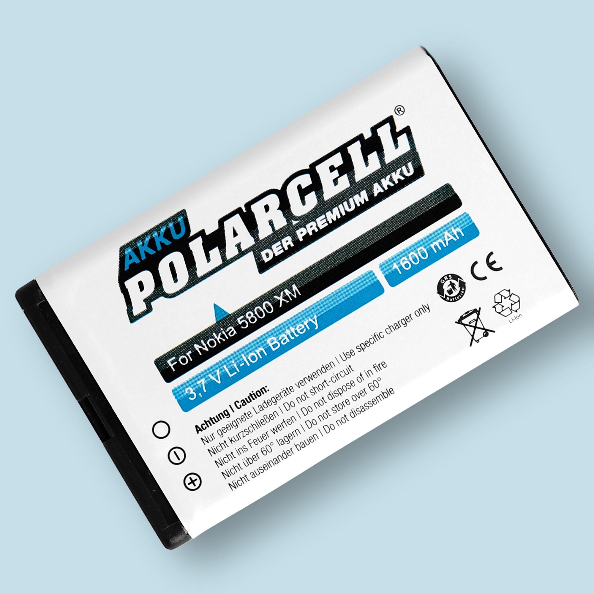 PolarCell® Hochleistungsakku für Nokia 5228, ersetzt Originalakku  BL-5J