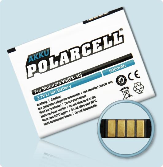 PolarCell® Hochleistungsakku für Motorola Moto U9, ersetzt Originalakku BX40