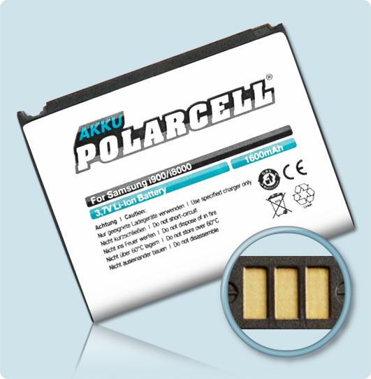 PolarCell® Hochleistungsakku für Samsung Galaxy Omnia i900, ersetzt Originalakku  AB653850CU