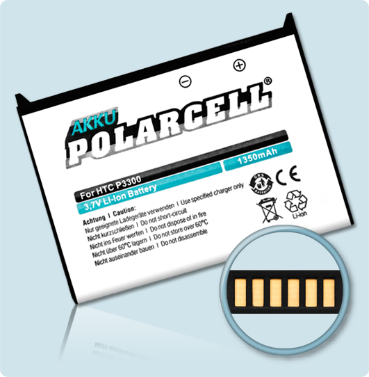 PolarCell® Hochleistungsakku für HTC P3300, ersetzt Originalakku ARTE160