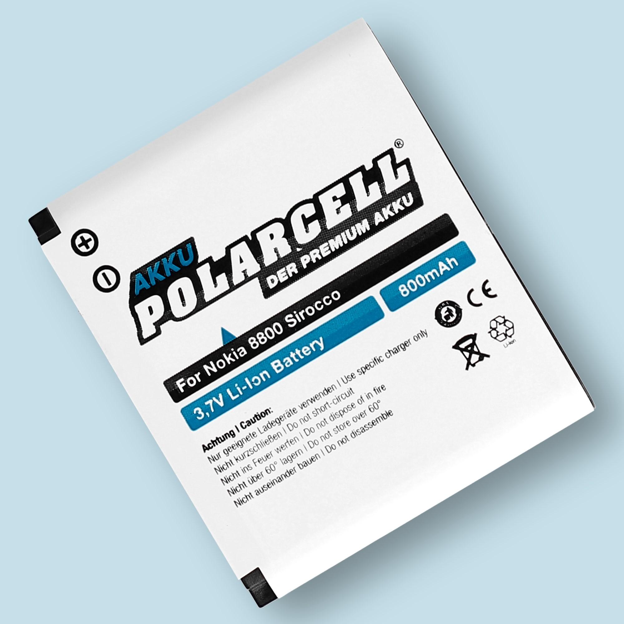 PolarCell® Hochleistungsakku für Nokia 8800 Sirocco, ersetzt Originalakku BP-6X - BP-5X