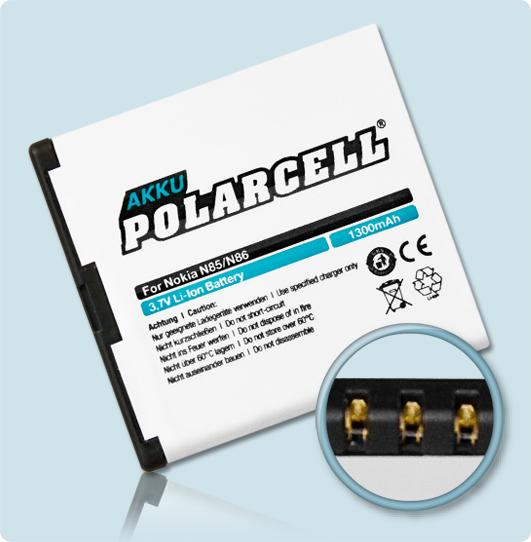 PolarCell® Hochleistungsakku für Nokia Oro, ersetzt Originalakku BL-5K