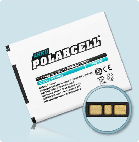 PolarCell® Hochleistungsakku für Sony-Ericsson G705, ersetzt Originalakku BST-33, BST-40