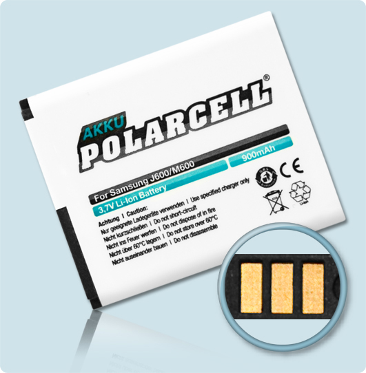 PolarCell® Hochleistungsakku für Samsung Galaxy L600, ersetzt Originalakku  AB533640BU - BE