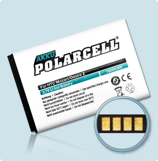 PolarCell® Hochleistungsakku für HTC Desire Z, ersetzt Originalakku BA S450 – S520