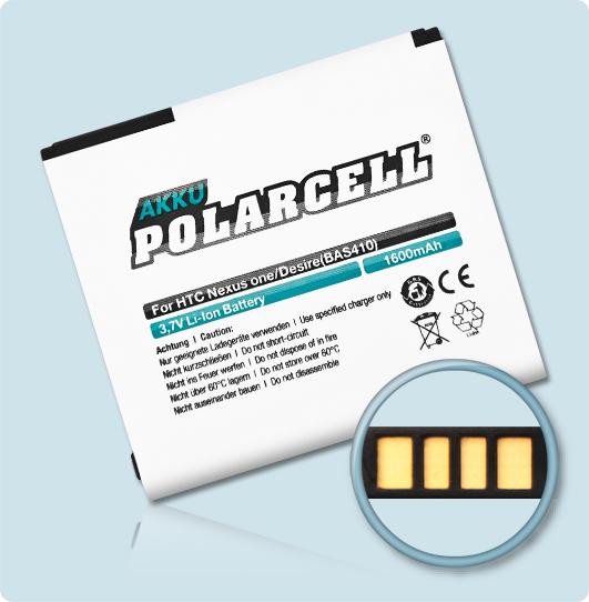 PolarCell® Hochleistungsakku für HTC A8181, ersetzt Originalakku BA S410