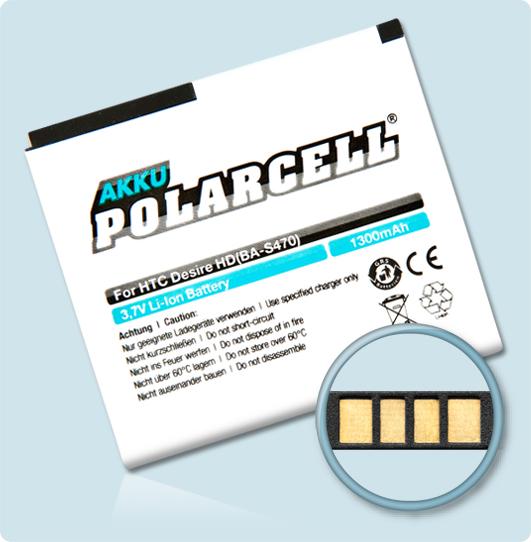 PolarCell® Hochleistungsakku für HTC A9191, ersetzt Originalakku BA S470