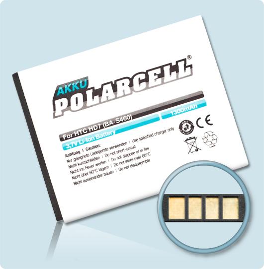 PolarCell® Hochleistungsakku für HTC T9292, ersetzt Originalakku BA S460 - S540