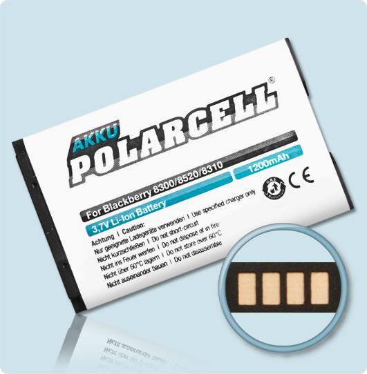 PolarCell® Hochleistungsakku für Blackberry Curve 8310, ersetzt Originalakku C-S2