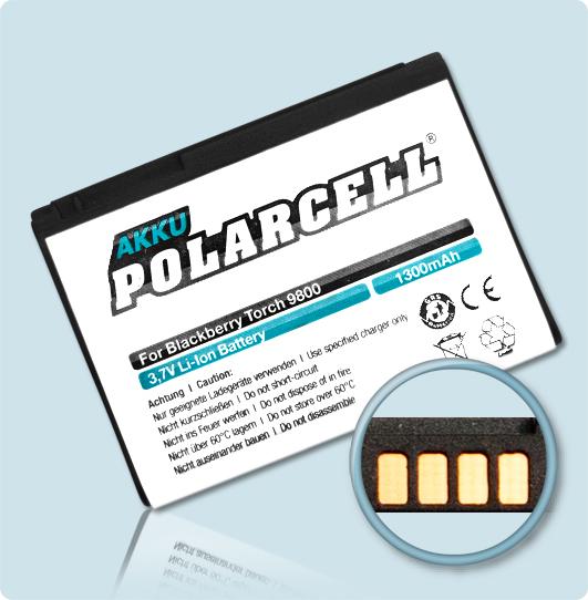PolarCell® Hochleistungsakku für Blackberry Curve 8910, ersetzt Originalakku F-S1