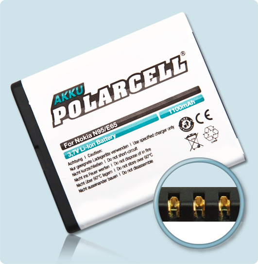 PolarCell® Hochleistungsakku für Nokia E65, ersetzt Originalakku BL-5F
